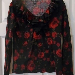 American living red rose shirt, size M